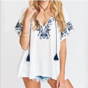 SMYMM Blue Embroidered Top